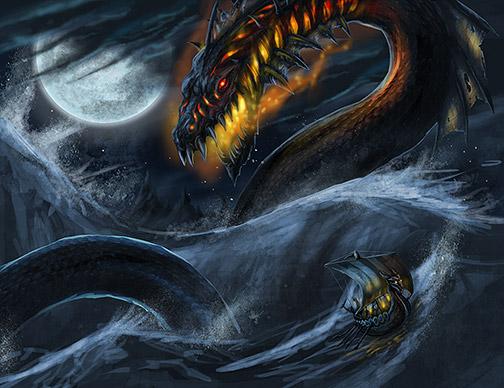综合  根据冰岛史诗《埃达》的记载,耶梦加得是一条身型极为庞大的巨