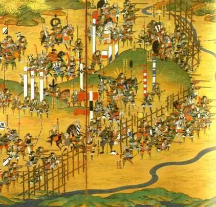 年长莜之战的屏风画.织田家的火枪队正严阵以待.图片