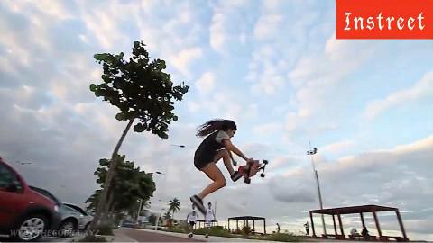 Instreet女孩令人称赞的巴西女生滑板AnaMar装qq与聊人滑板图片