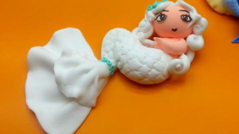 白色美人鱼 橡皮泥亲子游戏粘土手工制作