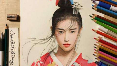 彩色铅笔手绘女神