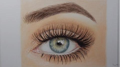 用彩色铅笔画一只逼真的眼睛(timelapse)